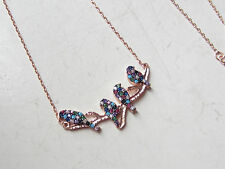 TURKISH ROSE 925K STERLING SILVER TURQUOISE TOPAZ LUCKY NECKLACE WITH BIRDS