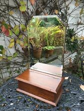 VINTAGE WOODEN DRESSING TABLE MIRROR BOX ANTIQUE CANDLE HOLDER DECO