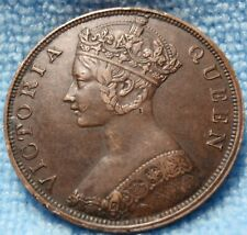 1863 XF-AU HONG KONG ONE CENT PENNY - VICTORIA - BRONZE