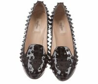"VALENTINO ""Rockstud"" Black Patent Leather Pumps. Size 38."