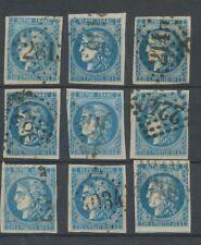 Lot de 9 Bordeaux N°46 20c Bleu. Qualité TTB, TB. L44