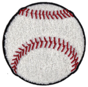 """BASEBALL SOFTBALL 4"""" ROUND CHENILLE EMBROIDERED PATCH APPLIQUE SEW ON STYLE"""