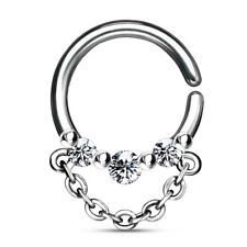 1pc 3-CZ Gems w/ Chain Bendable Hoop Ring- Nose Septum, Daith, Ear Cartilage