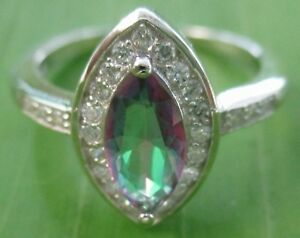 100 % 925 sterling silver CZ Mystic topaz  Ring Size 5.5 to 9 US - GIRL WOMEN