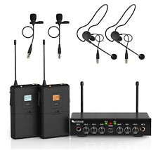 Fifine K038 Dual Channels UHF Wireless Microphone System For Weddings Church US