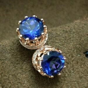 3Ct Round Cut Blue Sapphire Push Back Stud Diamond Earrings 14K Rose Gold Finish