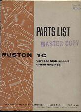 Ruston YC Parts List vertical high speed diesel engine