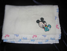 Vintage Dundee Acrylic Disney Baby Blanket Mickey Mouse USA Spiral Pattern Trim