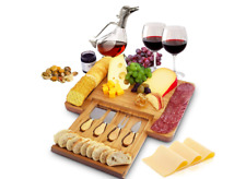 Great Christmas Gifts Home Euphoria Natural Bamboo Cheese Board and Cutlery Set