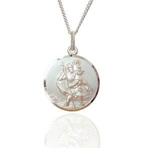 """925 Sterling Silver St.Christopher Pendant & 24"""" Chain - 22 mm - Double Sided."""