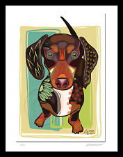 Dog Dachshund Doxie Artist  Print  of Original Fun Signed + Numbered SFASTUDIO