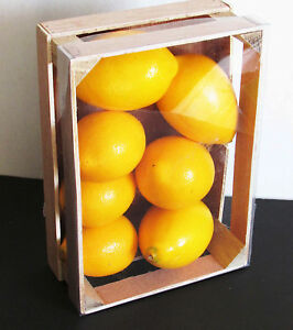 """7 Large Lemons Faux Artificial Lifesize Fruit in Lightweight Crate 8.75"""" FREE SH"""