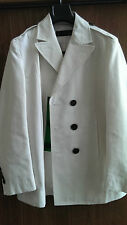 DSQUARED DOUBLE BREASTED WHITE JACKET BLAZER GREEN DETAIL SIZE 52 NEVER WORN