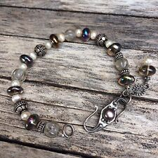 Sterling Silver Bracelet with Pearls and Quartz Artisan Handmade Heavy