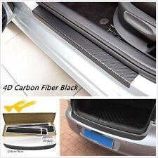 5Pcs Car Door Pedal Rear Trunk Tail Lip Carbon Fiber Anti Scratch Stickers Cover