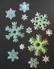 Christmas Window Clings - GREEN / WHITE Glitter Snowflakes - Approx 12 Stars