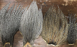 4 GRIZZLY ROOSTER CAPE HACKLE PATCHES DRY FLY TYING FEATHERS SADDLE