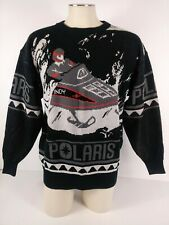Vintage Polaris Indy Snowmobile Print Pullover Sweater Mens Size M