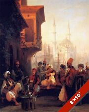 COFFEE HOUSE IN CONSTANTINOPLE ISTANBUL TURKEY PAINTING ART REAL CANVAS PRINT