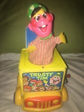 RARE MATTEL Vintage 1969 TRUSTY TIM Jack In The Music Box Pull Toy Bus Driver
