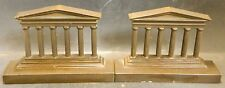 "Antique Bradley & Hubbard Bronze Greek Column Bookends Original Tags 4.75"" x 7"""