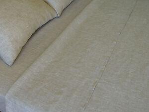 Linen Flat Sheet White or Oatmeal Beige Pure European Flax USA Sizes