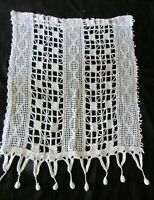 "Antique French Singular Handmade Crochet Curtain Hallway Curtain Drape 20"" x 26"""