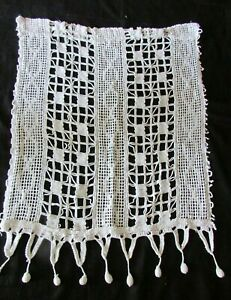 "Antique French Singular Handmade Crochet Curtain Hallway Curtain Drape 20"" x 26"""