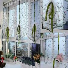 1PC Fresh Hand Embroidered Floral Cafe Kitchen Shade Sheer Voile Door Curtain