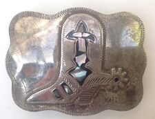 Cowboy Boot Belt Buckle Abalone Inlay Vintage American Retro Classic