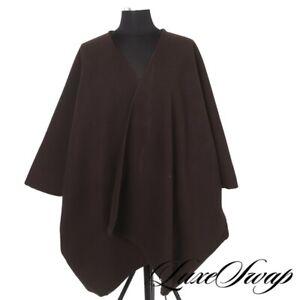 MASSIVE Nina Baker Soft Chocolate Brown Flannel Oversized Cape Poncho Jacket NR