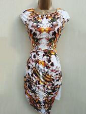 Karen Millen Multi Fluid Jersey Floral Print Drape Tunic Dress Summer Top 8 UK
