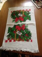 Vintage Merry Christmas Guest or Hand Towel Cotton Towel with Fringe Cannon ?
