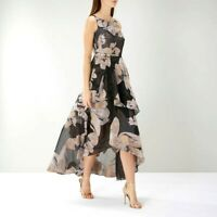 Coast Black Maria Jacquard Floral Organza Cocktail Maxi Party Dress 6 to 10 New