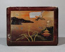 """Antique Japanese Lacquered Box, Pagoda, Crane, Stamped """"Fabriqué au Japon"""""""