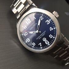 Mens Nautica Watch Quartz A12518 Navy Blue Dial Steel Bracelet Genuine