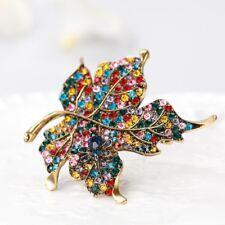 Fashion Rhinestone Maple Leaf Brooch Pin Gift for Ladies Dress Scarf