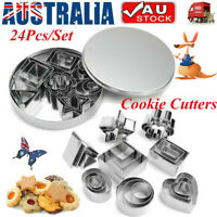 24Pcs/Set Christmas Cookie Cutters Stainless Steel Biscuit Cutter Baking Mold AU