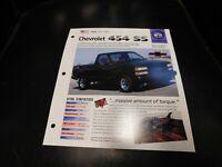 1990-1993 Chevrolet K1500 454 SS 454SS Spec Sheet Brochure Photo Poster 91 92
