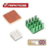 Raspberry Pi 3 & 4   3 Piece Aluminium Silver Green and Copper Heat Sink Cooling