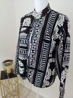 Chico's~Woman Size 2~Black/White Jacket Blazer Ethnic Print Open Front Cotton.