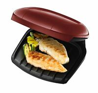 George Foreman 18840 Two 2 Portion Compact Grill Griddle Non Stick Grill RED new