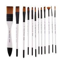 12Pcs Pinceaux Peinture Acrylique Professionnel Pour Huile Aquarelle Gouache