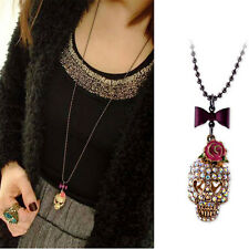 Rose Bow Skull Necklace Long Sweater Chain Metal Jewelry Pendant for Gifts、FR