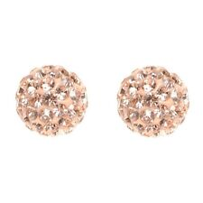 Peach Shamballa Inspired Crystal Ball Sterling Silver Stud Earrings 8mm