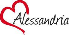"""Adesivo per auto """" ALESSANDRIA """"(Città) cuore Sticker ca.8x16cm taglio contorno"""
