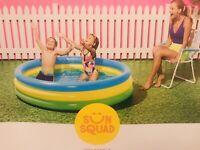 New Inflatable Kids 3-Ring Round Circle Wading Pool Sun Squad 5.5 Feet Diameter