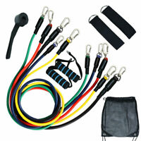 11 PCS Yoga Pilates Resistance Bands Set Abs Exercise Fitness Tube Workout NEW