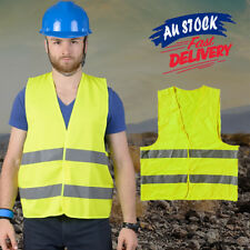 Safety Yellow Vest Work Jacket hi vis workwear Reflective Tape High Visibility