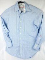 Robert Graham Mens Button Front Long Sleeve Shirt Cotton Blue Size Small